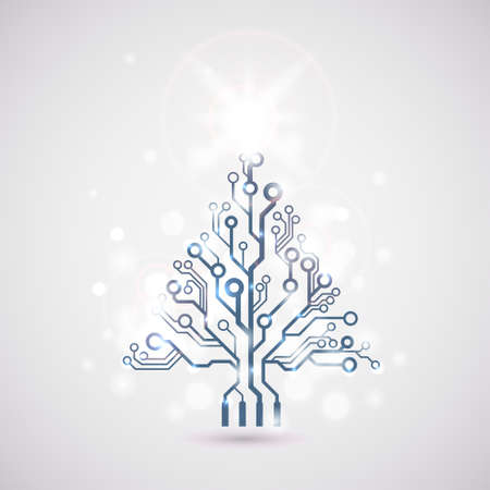 Vector circuit board lighting christmas tree