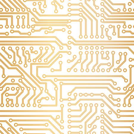 circuitry: golden seamless technology pattern Illustration