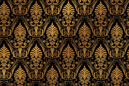 Vector luxury baroque black golden seamless wallpaper pattern