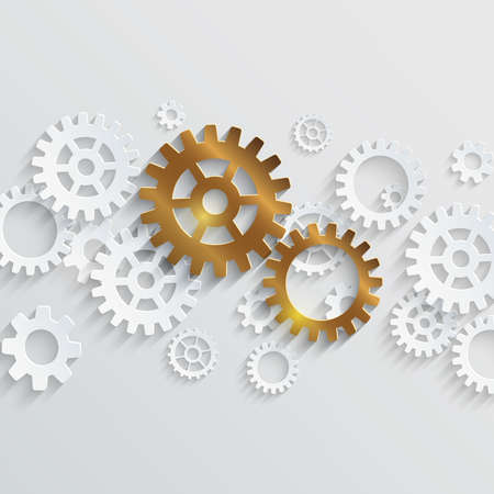 Vector outstanding concept. Golden gears standing out of white gears stream Illustration