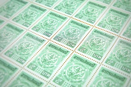 Chiang rai, Thailand - May 21, 2018: Revenue postage , 5 baht revenue postage duty of the Revenue Department, Thailand