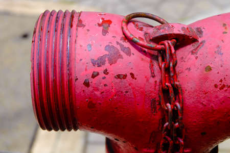close up of red Plumbing Fire,pumps for fire extinguishers when a fire in a building.