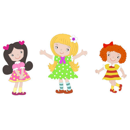 Vector three girls on a white background