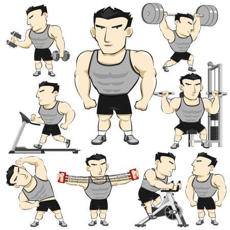 Fitness man Activiteiten Acties Set Pack Cartoon Vector Illustratie