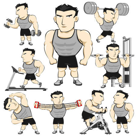 man lifting weights: Fitness Man Activities Actions Set Pack Cartoon