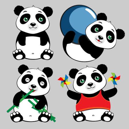 Panda Sit, Eat, Play Ball, Cute Cartoon Set Vector