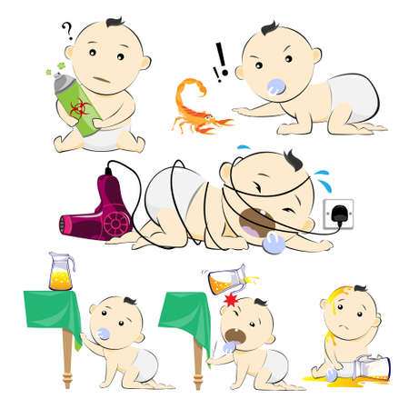 injured person: Baby Set  Hazard Danger Cartoon Illustration