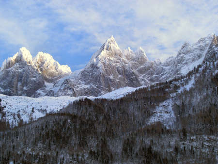 mountaintops: Chamonix (France) - Alps Skyline Stock Photo