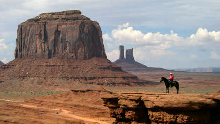 Monument Valley (UT) - Lookout man Stock Photo