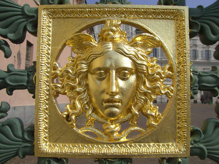 Gold Face on the Gate of the Royal Palace in Torino