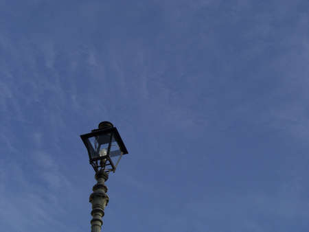 Alone Lamppost isolated in the Blue Clear Daily Sky Archivio Fotografico