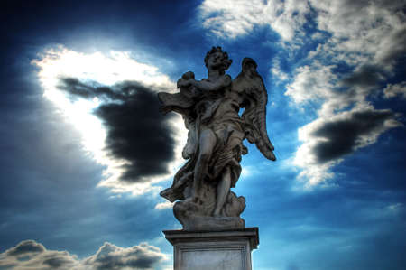 angel statue: Mystic Angel over the SantAngelo Bridge in Rome (Italy)