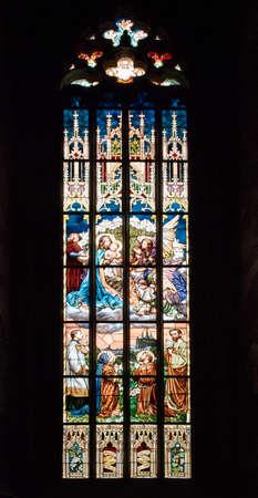 santa barbara: Kutna Hora Santa Barbara Cathedral Glass Window Editorial