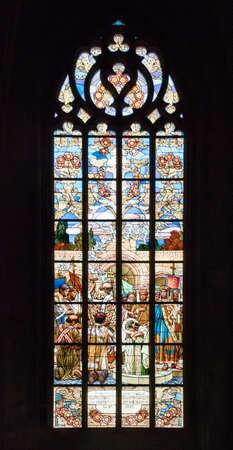 barbara: Kutna Hora Santa Barbara Cathedral Glass Window Editorial