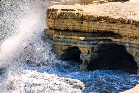 kerkyra: waves at canal damour in sidari corfu Stock Photo
