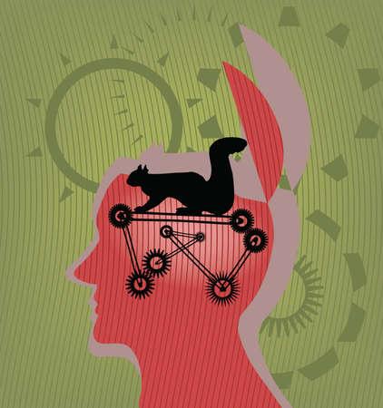 La ardilla en una cabeza de la persona que mudarse, realiza las funciones cerebrales  Ilustración de vector