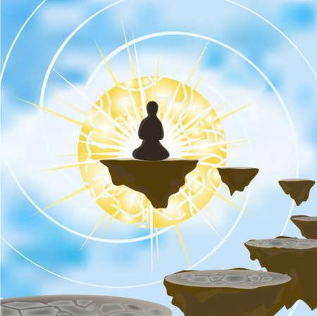 astral body: Ilustraci�n de la persona que ha dejado un cuerpo f�sico que se encuentran en el mundo astral en el curso de meditaci�n