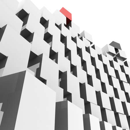 chaotic pyramid of cubes on top of which are red and black cubes. 3D computer rendering photo