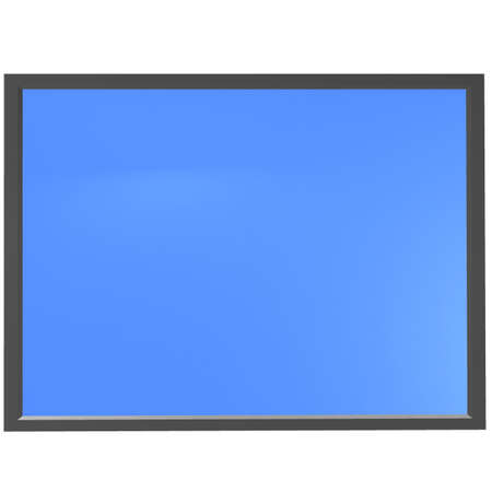 black electronic tablet with a blue screen. 3D computer rendering photo