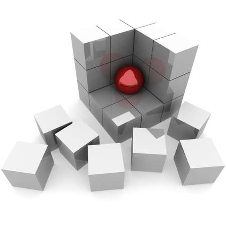 part of the ruins of a pyramid of cubes in which the red ball. 3D computer rendering