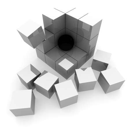 nexus: part of the ruins of a pyramid of cubes in which the black ball. 3D computer rendering