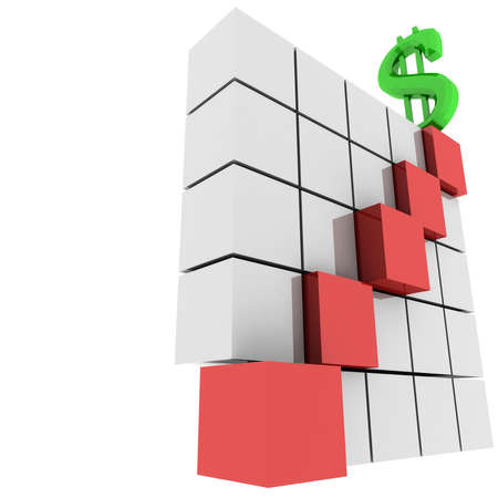 Pyramid from the glossy metal cubes on top of which is the dollar sign Stock Photo - 8264984