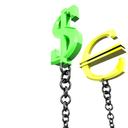 three-dimensional marks the euro and the dollar pegged to the black chain Stock Photo - 8265011