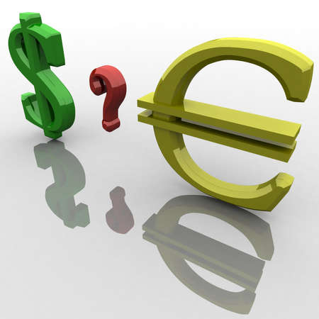 The dollar sign and euro between them has a question mark photo
