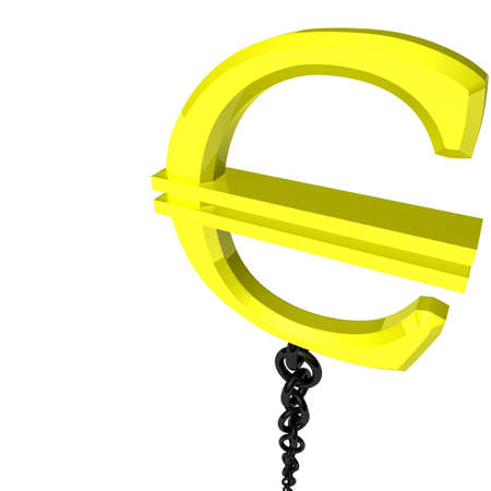 surround the euro symbol is attached to a black chain Stock Photo - 8264958