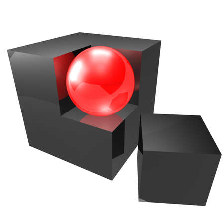 replaced: glossy black cube is one of the faces of which is replaced by a ball