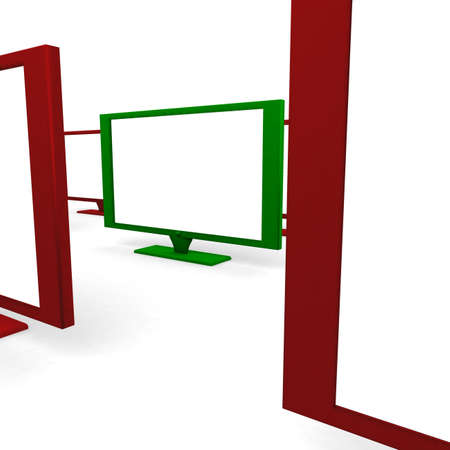 computer simulation: Plasma TVs in the red building among them one in green. 3D computer simulation