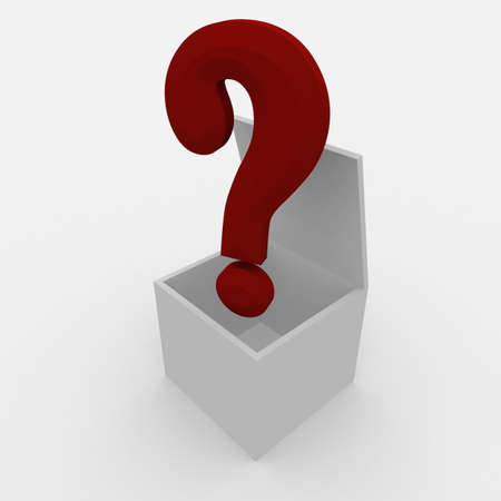 white open box over which a question mark. 3d computer modeling Stock Photo - 8328896