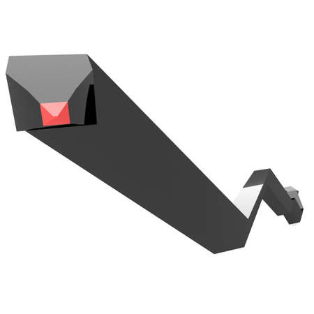 tending: abstract figure in black with a red tip tending upwards. 3d computer modeling