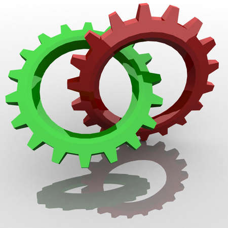 two gears with green and red are coupled to each other. 3d computer modeling photo