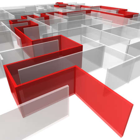 puzzling: maze of rectangular panels between which the red arrow. 3d computer modeling