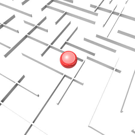 maze of rectangular panels in the center of which lies a red glossy sphere. 3d computer modeling Stock Photo - 8371547
