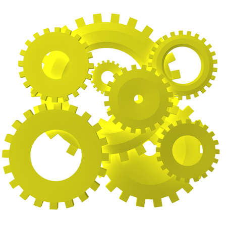 set of gears connected to each other mechanically. 3d computer modeling Stock Photo - 8371548