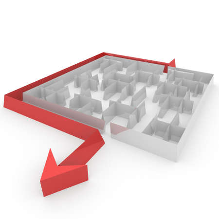 complicated: maze next to the arrow that goes Stock Photo