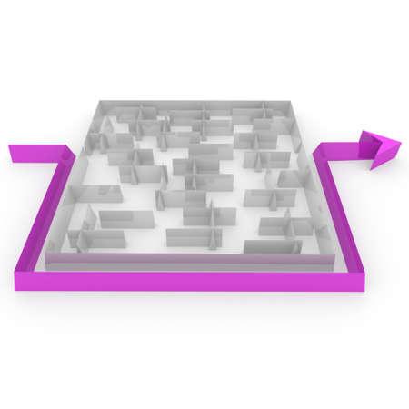 maze next to the arrow that goes Stock Photo - 10323683