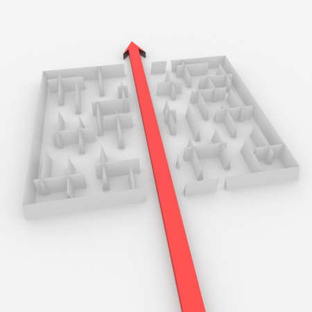 arrow passes through the maze photo