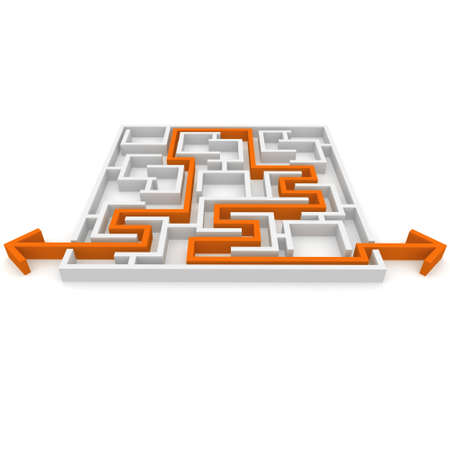 complicated: the way an arrow is laid on the labyrinth Stock Photo