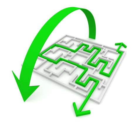 puzzling: various ways of passing the maze Stock Photo
