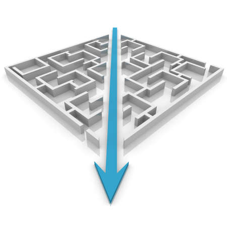 problem solved: arrow cuts a maze in two parts Stock Photo