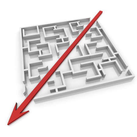 in a way: arrow cuts a maze in two parts Stock Photo