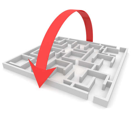 difficult journey: maze over which goes hand