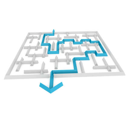 difficult journey: way to exit with an arrow through the maze