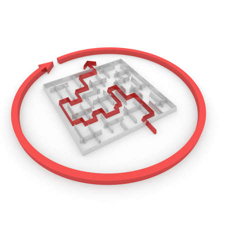 puzzling: several ways to pass the maze Stock Photo