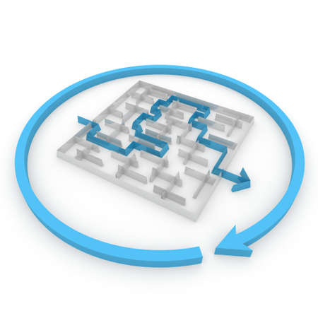solved maze puzzle: several ways to pass the maze Stock Photo