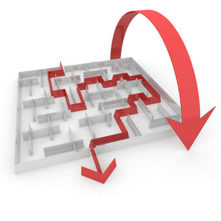 problem solved: several ways to pass the maze Stock Photo