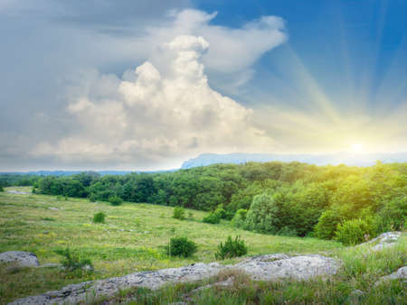 natural range in the sunny sky background Stock Photo - 10324130